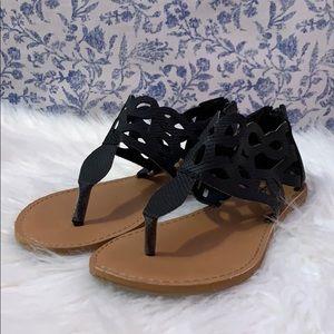 Black Zip-Up Sandals.